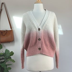 New Madewell pink ombré cardigan sweater